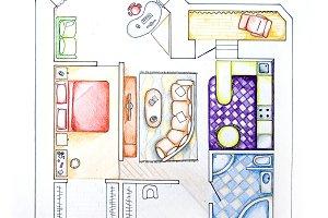 Interior design apartments - top view. Sketch handwork