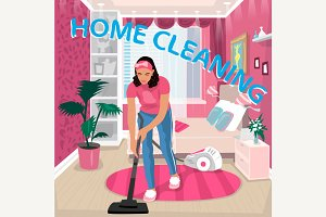Nanny vacuums children room