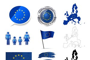 European Union infographics elements