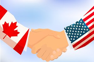USA and Canada handshake