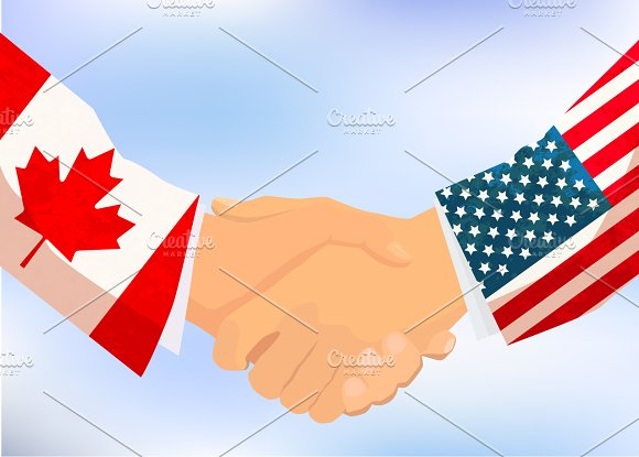 USA and Canada handshake in Illustrations