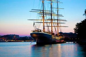 Ship at sunset, romantic view