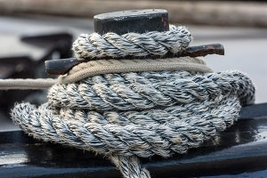 Mooring rope tied around a cleat