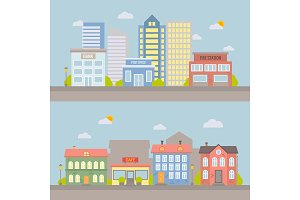 Vector flat city landscape