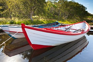 Floating Wooden Boats with