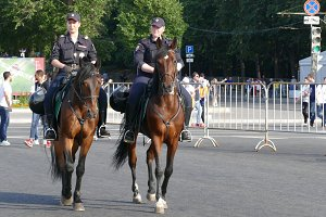 Mounted police in Moscow