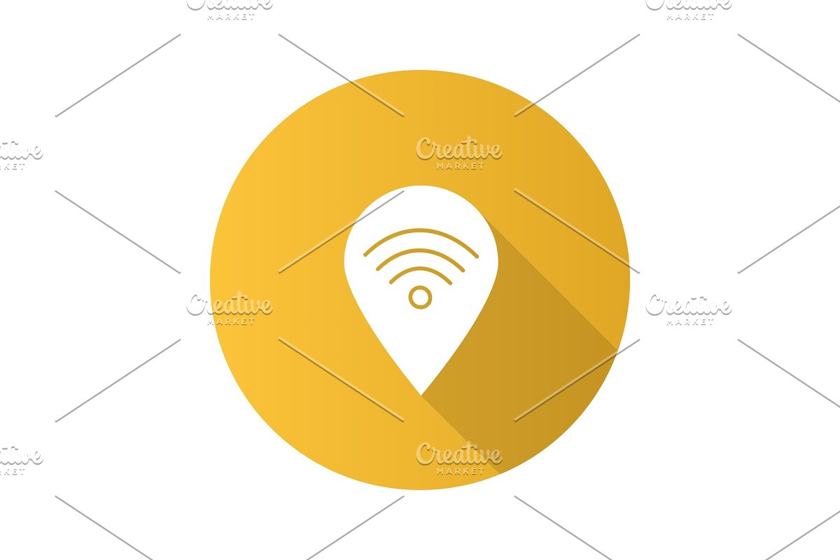 Map pinpoint with wifi signal inside flat design long shadow gly