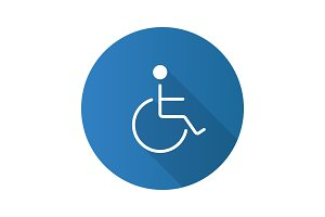 Disabled person in wheelchair flat design long shadow glyph icon