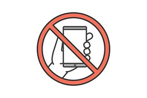 Forbidden sign with mobile phone color icon