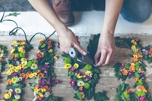 Florist making flower decoration