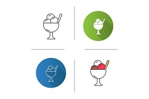 Ice cream in bowl icon