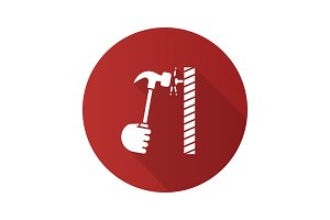 Hand hammering nail flat linear long shadow icon
