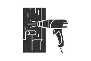 Hot air gun heating surface glyph icon