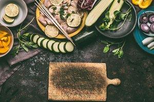 Meat and vegetables skewers making