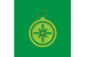 Compass paper cut out icon