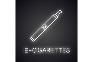 E-cigarette neon light icon
