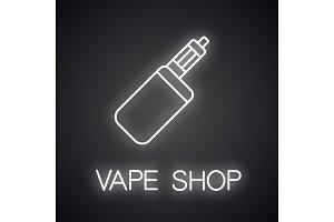 E-cigarette neon light icon