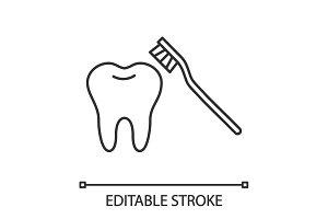 Correct teeth brushing linear icon
