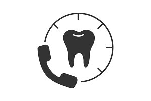 Making appointment with dentist glyph icon