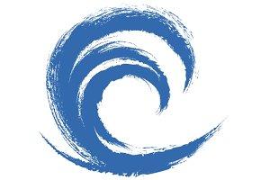 Grunge Circle Wave Logo