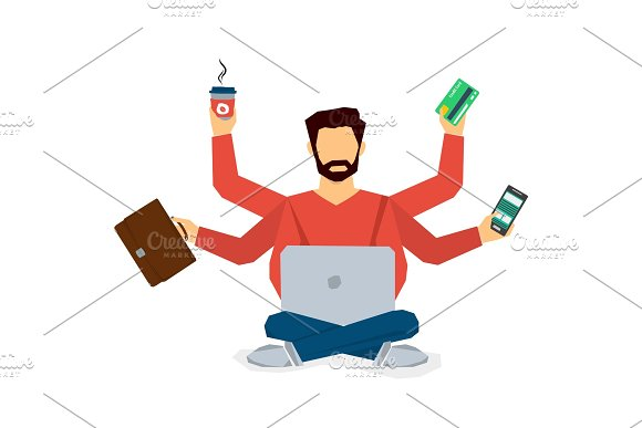 Multitasking businessman isolated