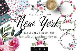 """New York"". Roses watercolor clipart"