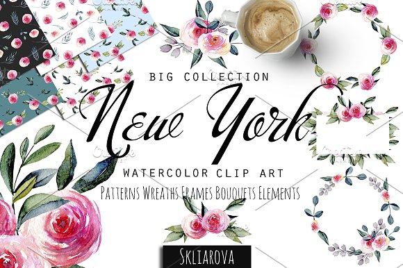 """New York"". Roses watercolor clipart"