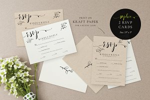 Wedding RSVP Card Template, Sophie
