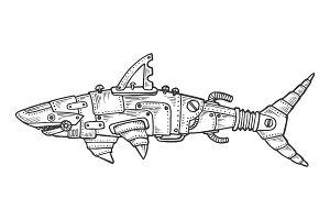Mechanical shark animal engraving vector