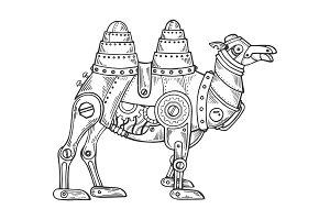 Mechanical camel animal engraving vector