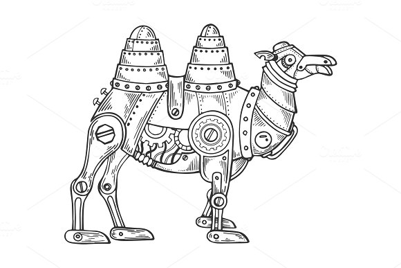 Mechanical camel animal engraving vector in Illustrations