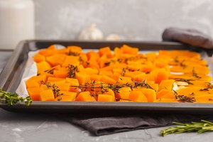 Pumpkin baked with herbs and garlic