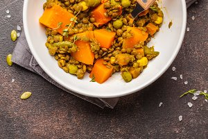 Lentil with pumpkin ragout