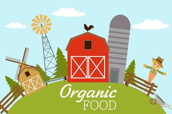 Organic food. American farm - Illustrations