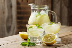 Cold water with mint, lemon and cucu