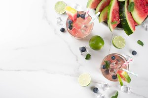 Watermelon and blueberry lemonade