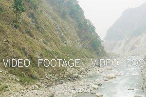 River between nepalese mountains. Manaslu circuit trek.