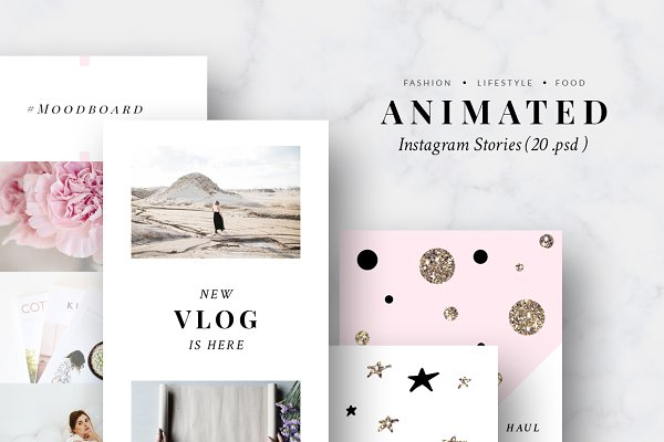 ANIMATED Instagram Stories-Pink&Gol…