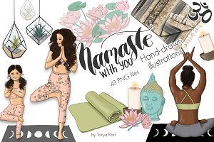 Namaste Hand Drawn Yoga Illustration