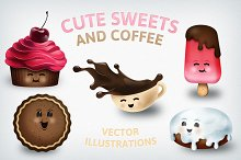 Cute Sweets and Coffee - Food Icons