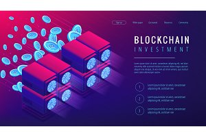 Isometric blockchain investment landing page concept.