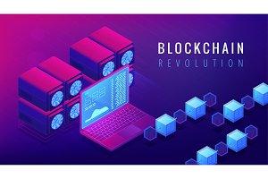 Isometric blockchain revolution concept.