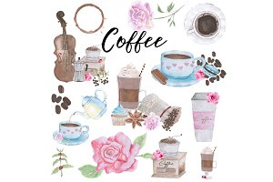 Hand Drawn Watercolor Coffee Clipart