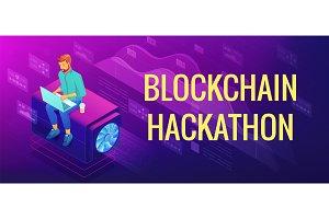 Isometric blockchain hackathon concept.