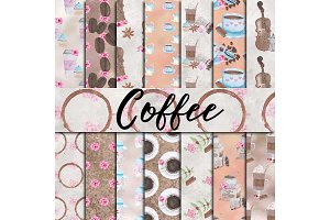 Watercolor Coffee Digital Paper