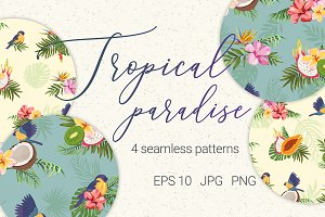 Tropical paradise. 4 Patterns