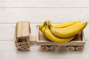 Ripe bananas in toy truck.