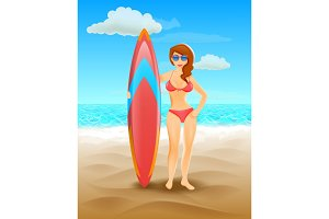 Surfer girl on a beach. Woman with surfboard. Summer tropical vacation.