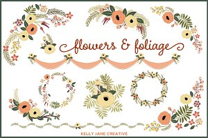 Autumn Flowers & Foliage Vector