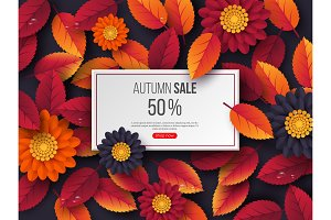 Autumn sale rectangular banner with 3d leaves, flowers and water drops. Violet background - template for seasonal discounts, vector illustration.